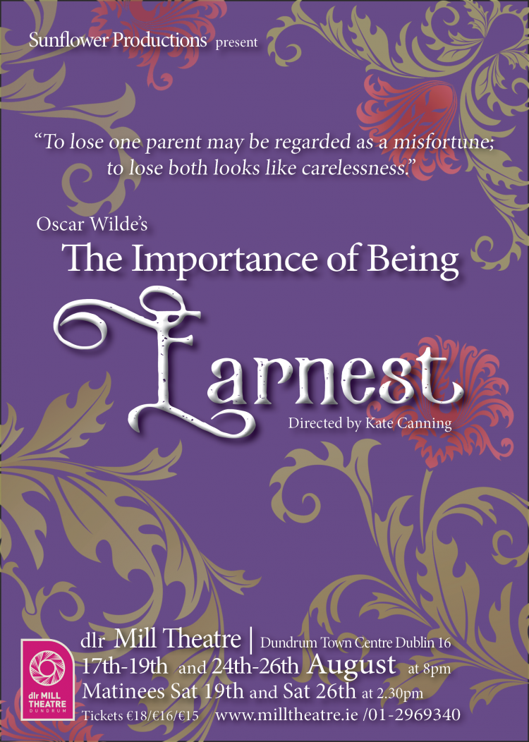 Oscar Wilde's The Importance of Being Earnest dlr Mill Theatre August 2017