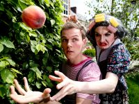 Matthew O'Brien as Aunt Spiker and Mark Lavery as James in Roald Dahl's James and the Giant Peach by Mill Productions – dlr Mill Theatre, Dundrum Town Centre from June 14th-25th PIC: NO FEE, MAXWELLPHOTOGRAPHY.IE Mill Productions present ROALD DAHL'S James and the Giant Peach Adapted by David Wood